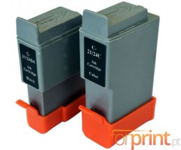 2 Cartuchos de tinta Compatibles, Canon BCI-21 / BCI-24 Negro 9.2ml + Colores 12.6ml