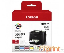4 Cartuchos de tinta Originales, Canon PGI-2500 Negro + Colores 71ml / 19ml ~ 2.500 / 1.700 Paginas