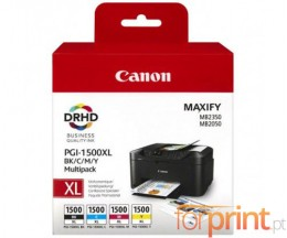 4 Cartuchos de tinta Originales, Canon PGI-1500 Negro 35ml + Colores 12ml ~ 1.200 / 1.000 Paginas