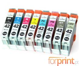 8 Cartuchos de tinta Compatibles, Canon CLI-42 BK / C / M / Y / LC / LM / GY / LGY 13ml