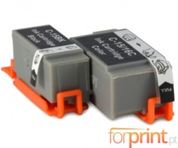 2 Cartuchos de tinta Compatibles, Canon BCI-15 / BCI-16 Negro 5.2ml + Colores 6.3ml
