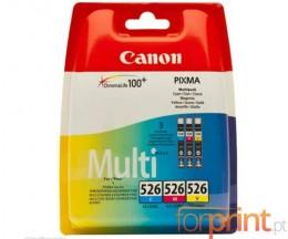 3 Cartuchos de tinta Originales, Canon CLI-526 Colores 9ml