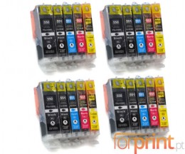 20 Cartuchos de tinta Compatibles, Canon PGI-550 XL / CLI-551 Negro 22ml + Colores 13ml