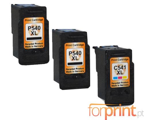 3 Cartuchos de tinta Compatibles, Canon PG-540 XL / CL-541 XL Negro 24ml + Colores 21ml