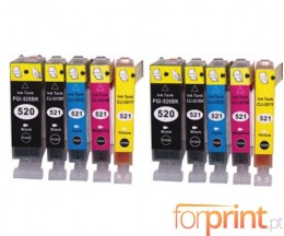 10 Cartuchos de tinta Compatibles, Canon PGI-520 Negro 19.4ml + CLI-521 Colores 9ml