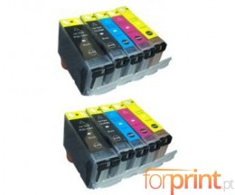 10 Cartuchos de tinta Compatibles, Canon PGI-5 / CLI-8 Negro 26.8ml + Colores 13.4ml