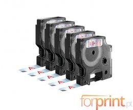 5 Cintas Compatibles, DYMO 45012 ROJO / TRANSPARENTE 12mm x 7m