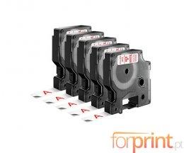5 Cintas Compatibles, DYMO 45015 ROJO / BLANCO 12mm x 7m