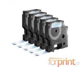 5 Cintas Compatibles, DYMO 45020 BLANCO / TRANSPARENTE  12mm x 7m