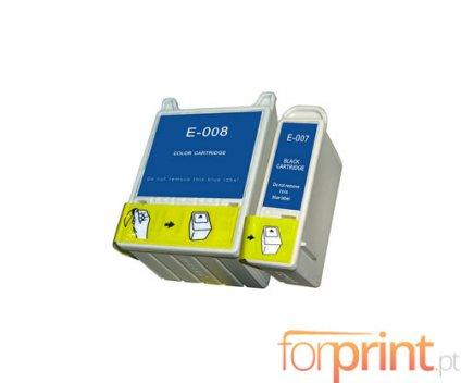 2 Cartuchos de Tinta Compatibles, Epson T007 Negro 16ml + T008 Colores 43ml