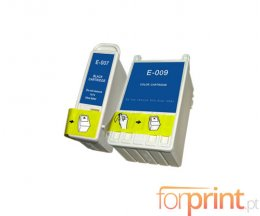 2 Cartuchos de Tinta Compatibles, Epson T007 Negro 16ml + T009 Colores 62ml