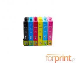 6 Cartuchos de Tinta Compatibles, Epson T0791-T0796 Negro + Colores 17ml