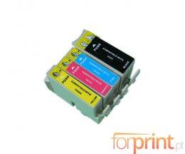 4 Cartuchos de Tinta Compatibles, Epson T0321-T0324 Negro 36ml + Colores 18ml
