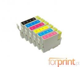 6 Cartuchos de Tinta Compatibles, Epson T0331-T0336 Negro + Colores 13ml