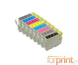 8 Cartuchos de Tinta Compatibles, Epson T0341-T0348 Negro + Colores
