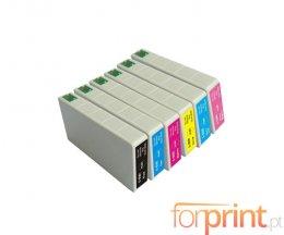 6 Cartuchos de Tinta Compatibles, Epson T5591-T5596 Negro + Colores 16ml