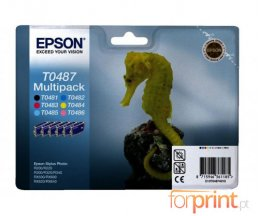 6 Cartuchos de tinta Originales, Epson T0481-T0486 Negro 13ml + Colores 13ml