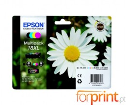 4 Cartuchos de tinta Originales, Epson T1816 Negro 12ml + Colores 7ml
