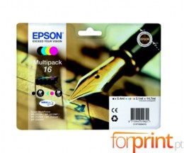 4 Cartuchos de tinta Originales, Epson T1626 Negro 5.4ml + Colores 3.1ml