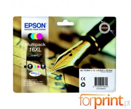 4 Cartuchos de tinta Originales, Epson T1636 Negro 12.9ml + Colores 6.5ml