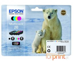 4 Cartuchos de tinta Originales, Epson T2601 Negro 6.2ml + T2612-T2614 Color 4.5ml