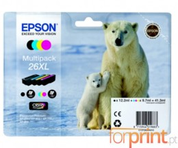 4 Cartuchos de tinta Originales, Epson T2621 Negro 12ml + T2632-T2634 Colores 10ml