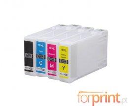 4 Cartuchos de Tinta Compatibles, Epson T7901-T7904 / T7911-T7914 Negro 42ml + Colores 19ml