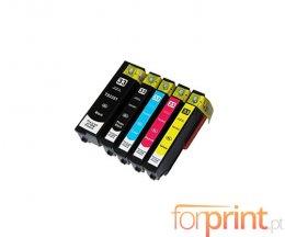 5 Cartuchos de Tinta Compatibles, Epson T3351 Negro 24.4ml + T3361-T3364 13.8ml