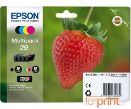 4 Cartuchos de tinta Originales, Epson T2986 Negro 5.3ml + Cor 3.2ml
