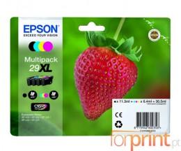 4 Cartuchos de tinta Originales, Epson T2991-T2994 Negro 11.3ml + Cor 6.4ml