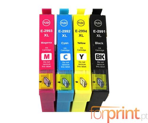 4 Cartuchos de tinta Compatibles, Epson T2991-T2994 Negro 17ml + Cor 13ml