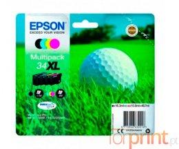 4 Cartuchos de tinta Originales, Epson T3476 Negro 16.3ml + Colores 10.8ml