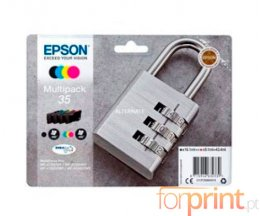 4 Cartuchos de tinta Originales, Epson T3586 Negro 16.1ml + Colores 9.1ml