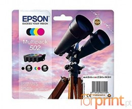 4 Cartuchos de tinta Originales, Epson T02V6 / 502 Negro + Colores