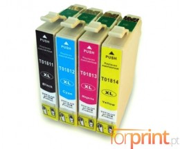4 Cartuchos de tinta Compatibles, Epson T1811-T1814 Negro 17ml + Colores 13ml