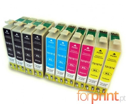 10 Cartuchos de tinta Compatibles, Epson T1811-T1814 Negro 17ml + Colores 13ml