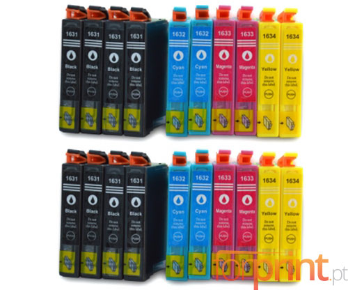 20 Cartuchos de tinta Compatibles, Epson T1631-T1634 Negro 17ml + Colores 11.6ml