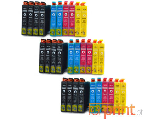 30 Cartuchos de tinta Compatibles, Epson T1631-T1634 Negro 17ml + Colores 11.6ml