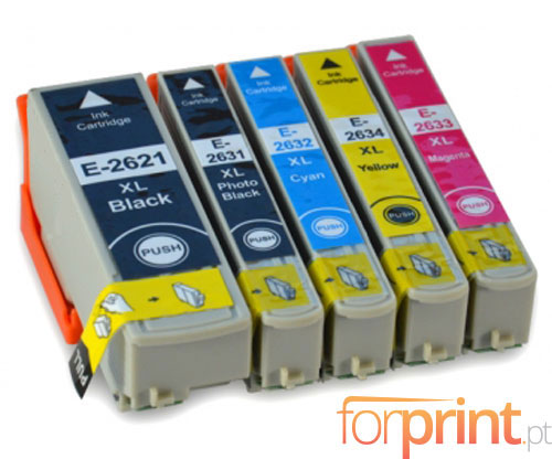 5 Cartuchos de tinta Compatibles, Epson T2621 Negro 26ml + T2631-T2634 Colores 13ml