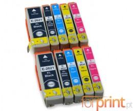 10 Cartuchos de tinta Compatibles, Epson T2621 Negro 26ml + T2631-T2634 Colores 13ml