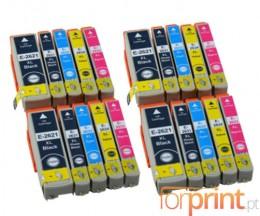 20 Cartuchos de tinta Compatibles, Epson T2621 Negro 26ml + T2631-T2634 Colores 13ml