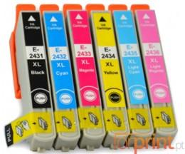 6 Cartuchos de tinta Compatibles, Epson T2431-T2436 Negro 13ml + Colores 13ml