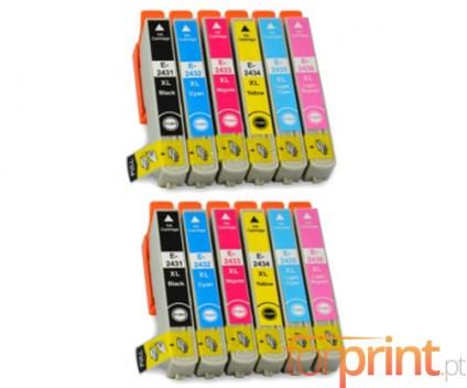 12 Cartuchos de tinta Compatibles, Epson T2431-T2436 Negro 13ml + Colores 13ml