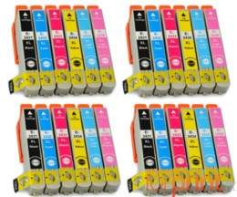 24 Cartuchos de tinta Compatibles, Epson T2431-T2436 Negro 13ml + Colores 13ml