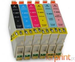 6 Cartuchos de tinta Compatibles, Epson T0481-T0486 Negro 18ml + Colores 18ml