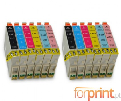 12 Cartuchos de tinta Compatibles, Epson T0481-T0486 Negro 18ml + Colores 18ml