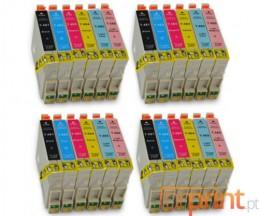 24 Cartuchos de tinta Compatibles, Epson T0481-T0486 Negro 18ml + Colores 18ml