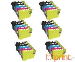 30 Cartuchos de tinta Compatibles, Epson T1281-T1284 Negro 13ml + Colores 6.6ml