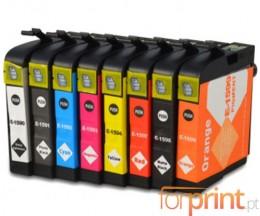 8 Cartuchos de tinta Compatibles, Epson T1590-T1599 Negro 17ml + Colores 17ml