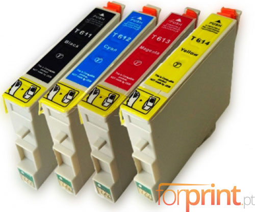 4 Cartuchos de tinta Compatibles, Epson T0611-T0614 Negro 17ml + Colores 15ml